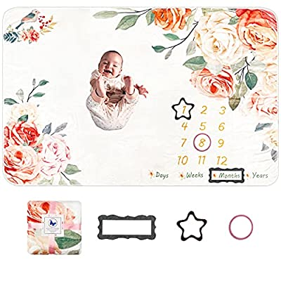 Baby Monthly Milestone Blanket Girl, 1 to 12 Months Blanket Baby Monthly Blanket