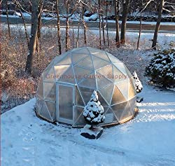 GREENHOUSE GEODESIC DOME 16 FT. With Marine Poly Cover for Hydroponic Gardening - Best Geodesic Dome Kit