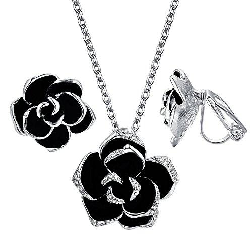 Yoursfs Black Rose Jewelry Set 18ct White Gold Plated Sexy Flower Lacing with Rhinestones Clip Earrings Necklace Ladies Jewelry Set