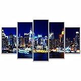 ComposicióN De 5 Cuadros De Madera Para Pared New York City Skyline River At Night Cuadros Decoracion Dormitorios Cuadros Para Cabeceros De Cama Lienzos Decorativos Cuadros Grandes Baratos 150x80cm