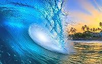 絵画風 壁紙ポスター (はがせるシール式) 波 夕暮れの波 クローズアップ チューブ 夕焼け ハワイ サーフィン 海 キャラクロ SWAV-015W2 (ワイド版 603mm×376mm) 建築用壁紙+耐候性塗料
