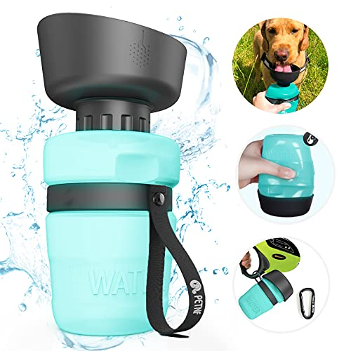 Portable Dog Water Bottle,Upgraded 2 in 1 Pet Travel Water Bottle and Bowl,Leakproof Pet Drinking Bottle for Dog Cat Outdoor Travel Walking,Lightweight Large Capacity Pet Water Bottles (18oz)