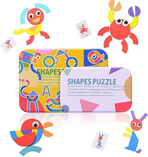 Tangram Madera,Formas y Colores Montessori Puzzle de Madera + Diseño Tarjetas de Apilamiento Juegos y Juguetes Educativos Clasificación de la Infancia