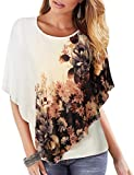 Lotusmile Poncho Shirts for Women, Ladies Floral Blouse Round Neck Junior Top Double Layered Print Chiffon Poncho Blouse Flowy Cover Ups Lightweight Relaxed Fit Shirt Mesh Blouse Tank (Beige,Large)