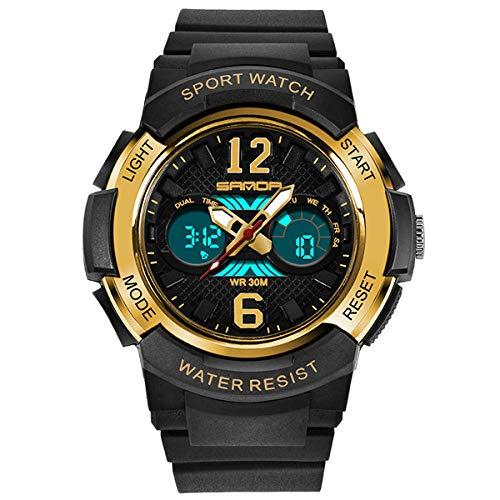 SANDA Reloj Mujer,Mesa de Silicona respetuosa con el Medio Ambiente con Reloj electrónico a Prueba de Agua.-Oro Negro