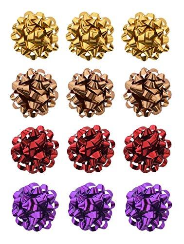 Helmecke & Hoffmann * 12er Set kleine Geschenk-Schleifen Geschenkrosetten Schleifenband Geschenkedekoration Ø ca. 3,5 cm (Set 2)