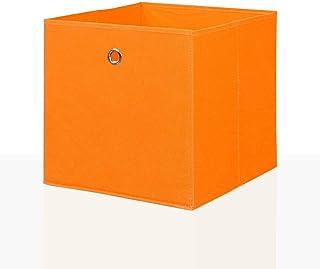 Mixibaby Lot de 4 boîtes de rangement pliables - Couleur : orange - Dimensions : 26 x 26 cm
