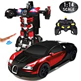 VillaCool Transformrobot Gesture Sensing RC Cars Robot for Kids Remote Control Toys Car One-Button Deformation and 360°Rotating Drifting; Children's Favorite Toys Best Gift for Boys and Girls (Red)