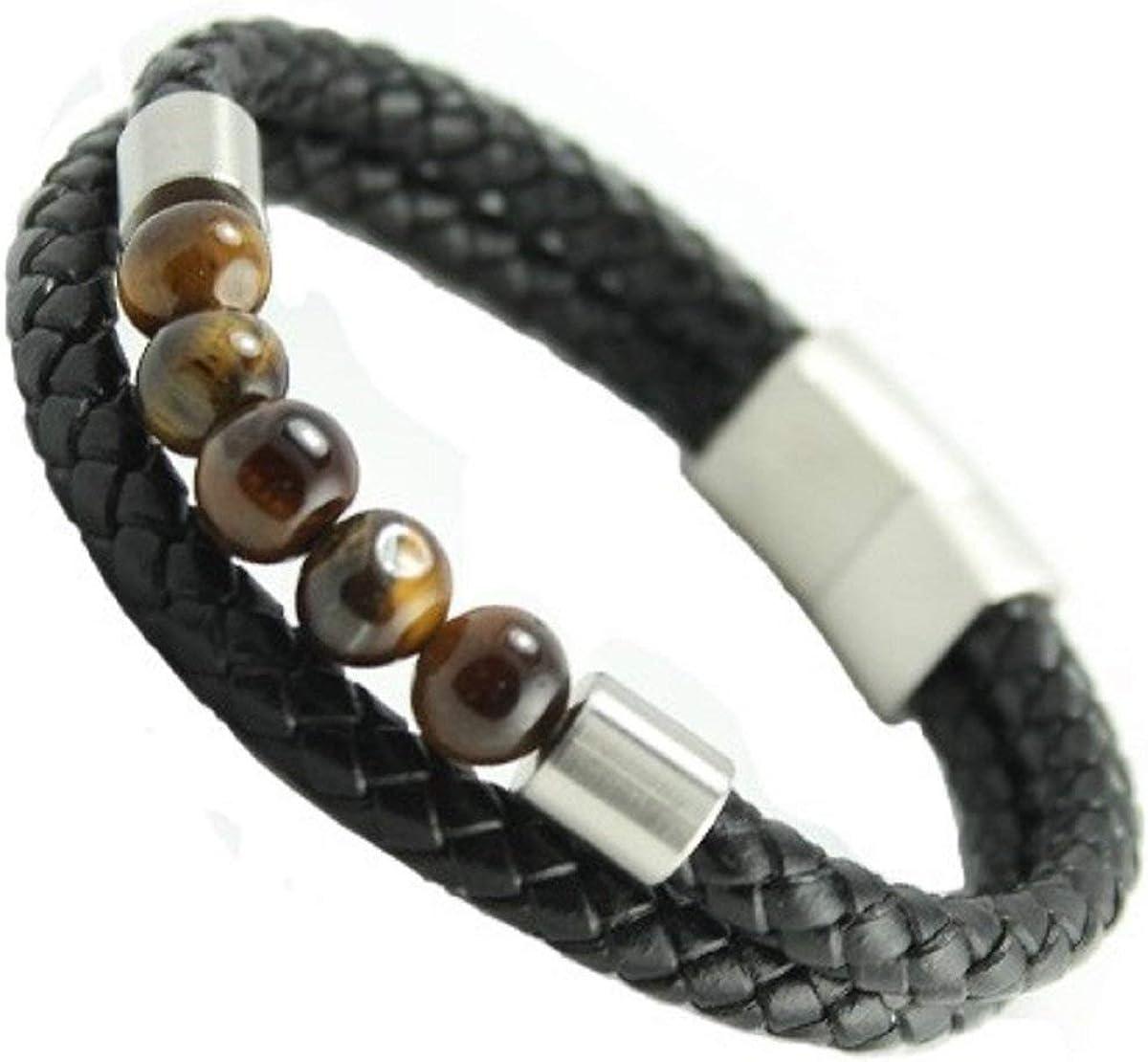 LND Black Branded goods service Multi String Braided Stainless Bracele Steel Leather