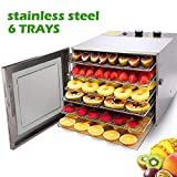 Food Dehydrator Machine, 12 Hours Timer and Temperature Control, Stainless Steel 6 Trays, Super...
