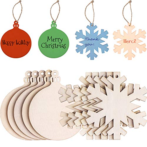 Tatuo 20 Pieces Unfinished Wooden Christmas Hanging Ornaments, 80 mm Round Blank Wood Discs and Wooden Snowflake Cutouts for DIY Craft Making, Painting, Christmas Decorations