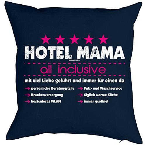 Goodman Design ® Danke Sagen Print - Bezug für Kissen 40 x 40cm - Hotel Mama - All Inclusive - viel Liebe 100% Baumwolle - Geschenkidee Mütter Tag Sohn Mutter - Print Kissenhülle in dunkelblau :-