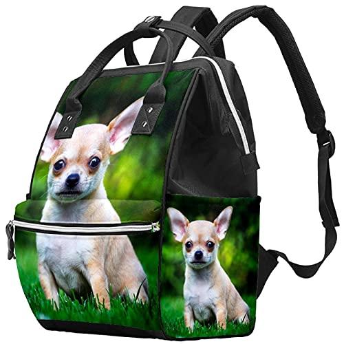 WJJSXKA Mochilas Bolsa de pañales Laptop Notebook Mochila de viaje Senderismo Daypack para Mujeres Hombres - perro chihuahua en el jardín de verano