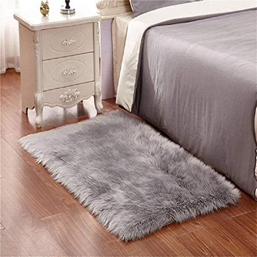 DQMEN Toison Tapis Laine Tapis Imitation Toison Moquette Fluffy Soft Longhair Décoratif Coussin de Chaise Canapé Natte (Gris, 60 X 90cm)