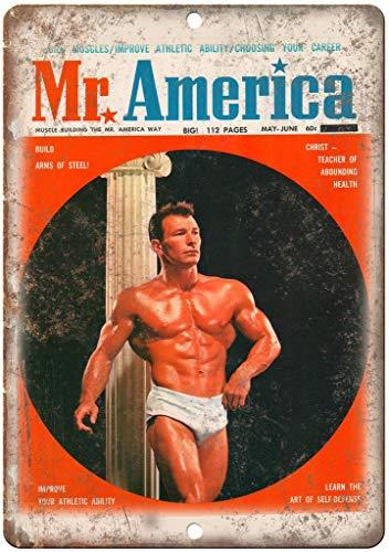 Mr. America Bodybuilding Blechschild Retro Blech Metall Schilder Poster Deko Vintage Kunst Türschilder Schild Warnung Hof Garten Cafe Toilette Club Geschenk