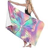 Toallas de Playa con Textura de Mariposas Rosas sábanas de baño Suaves de poliéster de Secado rápido Novedad de Verano Toallas Baño Grandes de Viaje para Esterilla de Yoga Manta de Playa 130X80 CM