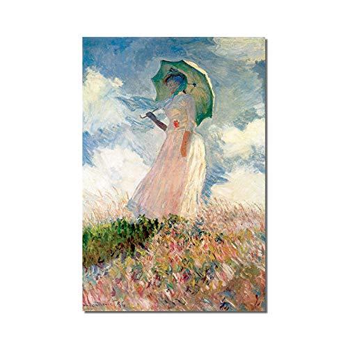 Pintura de Monet sobre Lienzo de Mujer Abstracta y Dama con Cartel de sombrilla e impresión de Imagen Mural en Lienzo decoración del hogar 60x90cm sin Marco