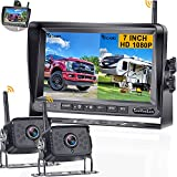RV Backup Camera Wireless 7 Inch Monitor 2 Rear View Camera System Digital Signals No Interference for Trailers,Motorhome,5th Wheels with Adapter Compatible with Furrion Pre-Wired RV-LeeKooLuu F07