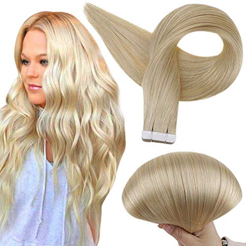 Full Shine Tape in Human Hair Extensions 24 Inch Remy Human Hair Straight Color 613 Blonde Tape On Human Hair Extensions Grade 7A Brazilian Remy Hair Skin Weft 50 Grams 20 Pcs Per Package