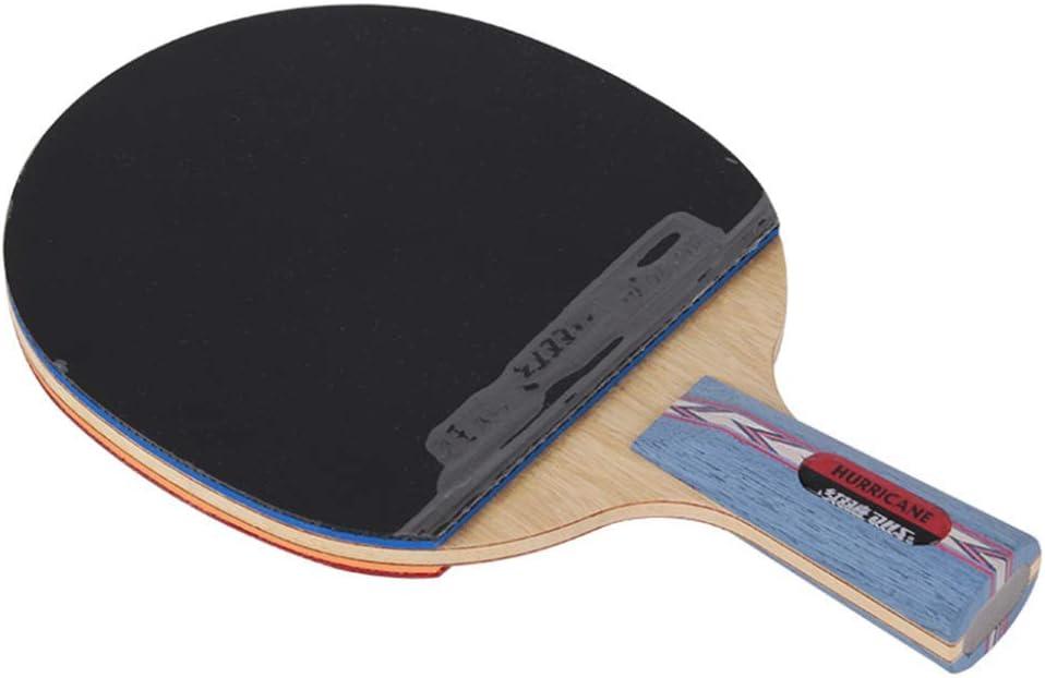 KCGNBQING Allround Table Tennis Bat, Competencia Ping Pong Raqueta con Estuche, 5 Capas de Madera Pura / 7 Estrellas/Mango Corto