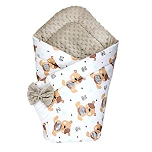 TupTam Manta Envolvente Arrullo Acolchado para Bebé, Osito de Peluche Beige, c. 75 x 75 cm