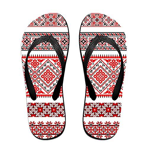 Sandalo infradito sottile unisex,Bordi Ucraini Tradizionali Cornici Ornam, Infradito per tappetino da yoga Comodo cinturino in pelle da spiaggia con suola in EVA leggera taglia S