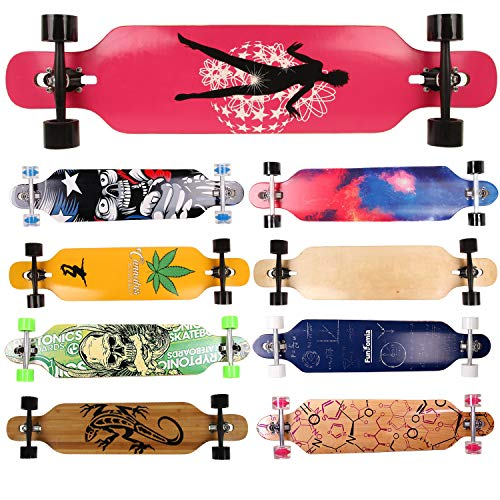 FunTomia Longboard Skateboard Drop Through Cruiser Komplettboard mit Mach1 High Speed Kugellager T-Tool mit und ohne LED Rollen Flex 1