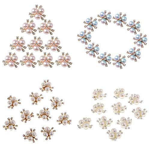 joyMerit 40x Crystal Flower Faux Pearl Botones de Vástago de Diamantes de Imitación Decoración de Boda Nupcial