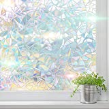WindoDeco Window Film Privacy Rainbow 3D (17.5 in x 6.5 ft) Decorative Holographic Window Sticker with Static Cling No Glue for Home Living Room Bedroom Glass Door