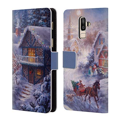 Head Case Designs Offizielle Christmas Mix Nicky Boehme Im Nikolausschlitten Winterlandschaft Leder Brieftaschen Huelle kompatibel mit Samsung Galaxy J8 (2018)