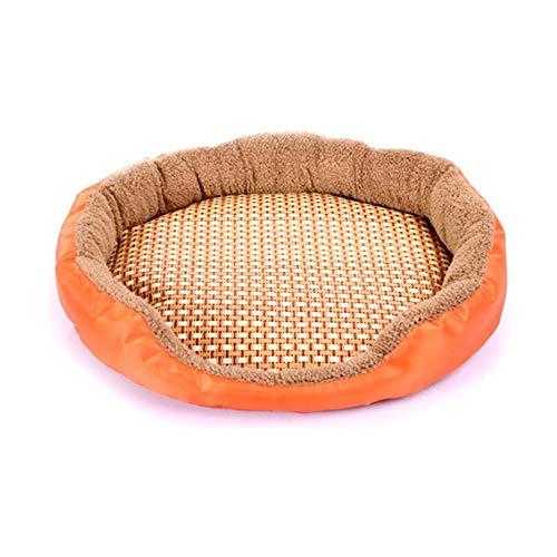 GEG Oval Form Nette Haustier Hund Katze Sommer Matte Hausbett Weiche atmungsaktive Haustier Schlafmatte, Holzfarbe, S.