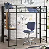 Metal Loft Bed with Desk and 2 Shelves, Twin/Full Loft Bed Frame for Kids/Adults (Twin, Black)