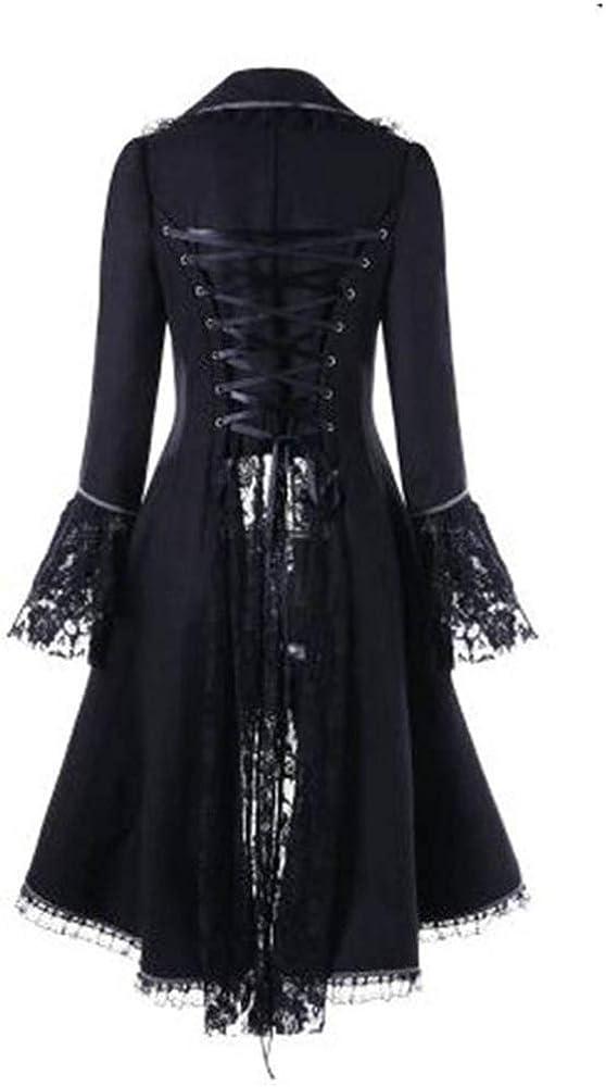 Smoking Steampunk Gothic Damen Jacke, Zolimx Female Punk Vintage Spitze Panel langärmelige Taille Rücken Bandage Stitching Jacke Mantel Übergröße Schwarz