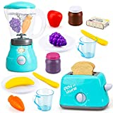 TOY Life Toy Blender Toy Toaster Kitchen Pretend Play Set with Realistic Light Sound Effect Play Food Kitchen Accessories Set for Kids Toddlers Learning Kitchen Toys for Grils Includes Plates Utensils