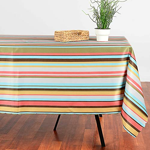 """SALE! Turkish Non-iron Stain Resistant Warm Stripe Easter TableCloth – Fashionable Mexican Stipes Home Dining Spring Table Protection - Stylish Indoor Outdoor (Striped, Rectangular 60""""x104"""")"""