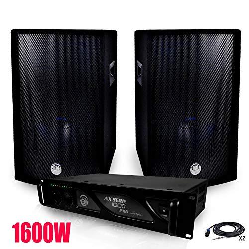 Pack PA 1600W Verstärker MyDJ + Lautsprecher bms-12-2x 600W + übereinstimmende