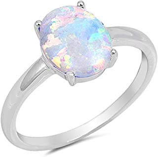 Solid Oval Lab Created White Opal .925 Sterling Silver Ring Sizes 4-12