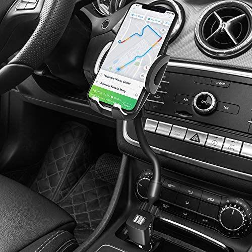 Car Phone Mount, 3-in-1 Amoner Cigarette Lighter Car Phone Holder with Dual Port USB Charger, Adjust Gooseneck and 360° Rotation Compatible iPhone 11 X 8, Galaxy S9 S8, Mate20 P30, GPS and More