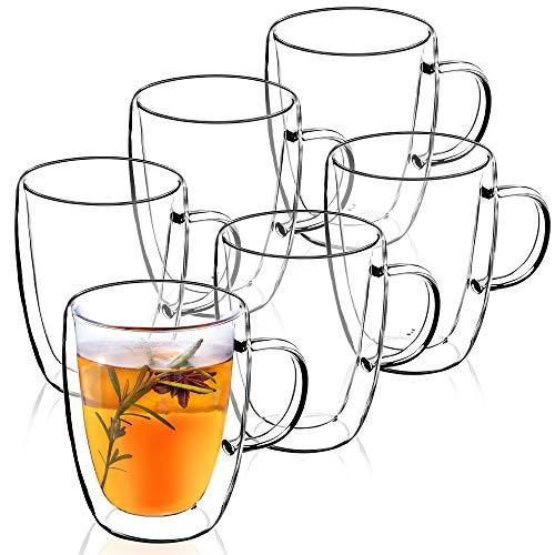 KADAX doppelwandige Glas Tasse, Glas mit Griff, 270ml, Trinkglas für Saft, Tee, Kaffee, Drink, Wasser, Eistee, Cappuccino, Universalglas, Teeglas, hochwertige Qualität (6)