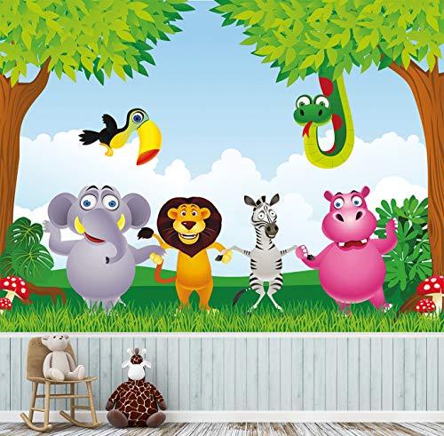 Tapete für Kinder selbstklebend | Dschungeltiere | in 265x200 cm | Kindertapete Tapete Wand-deko Dekoration Kinderbild Kinderzimmer Jungs Mädchen