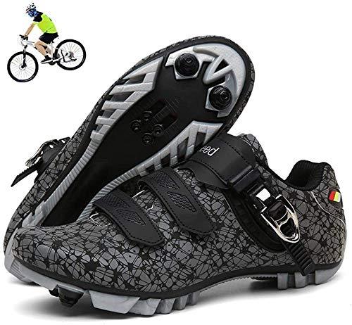 KUXUAN Zapatillas de Ciclismo MTB Hombres Mujeres - Bicicleta de Montaña Profesional Autoblocante Transpirable Compatible con Zapatos con Hebilla SPD Cleat,A-47EU=(285mm)