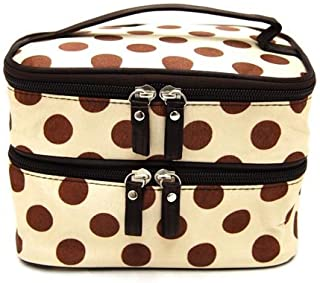 JOVANA Double Layer Cosmetic Bag Cream-colored with Coffee Dot Travel Toiletry Cosmetic Makeup Bag Organizer With Mirror
