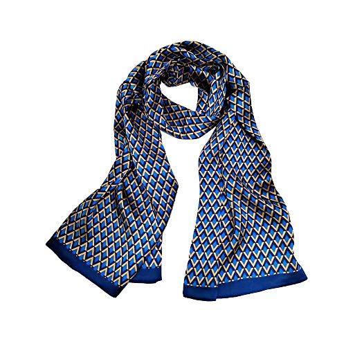 LDCSA Seidenschal Herren 100% Seide Schal Doppellagig aus Satin Seidentuch krawatte Tuch im Winter 160 x 26cm (Blau Gelb) MEHRWEG