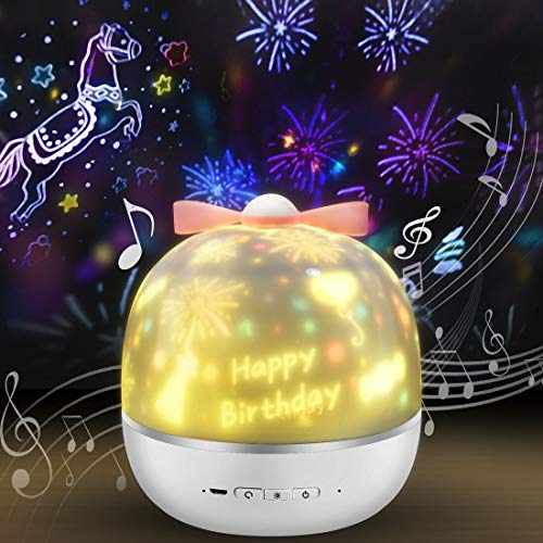 LED Sternenhimmel Projektor,Sternenhimmel LED Musik Nachtlicht Baby Sterne Lampe mit 6 Projektionsfilmen 360 °Drehbar für Baby Kinder Party Innenbereich (kleben) (y)