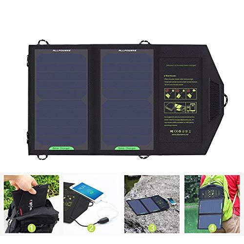 QWERTOUR Solar Panel 10W 5V oplader draagbare oplader op zonne-energie voor het opbergen van kosten voor wandelen enz. buitenshuis.