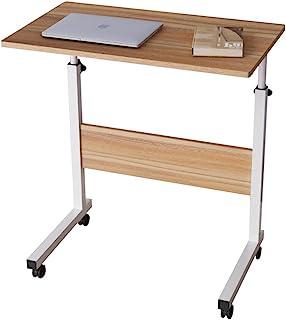 sogesfurniture Mesa Portátil Ordenador Ajustable con Ruedas, 60 * 40cm Mesa sofá Mesa de Escritorio para Cama o Sofá, Roble 05#1-60OK-BH