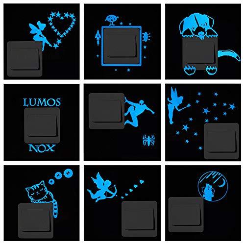 ufengke Luminoso Rayo Azul Pegatinas de Interruptor Brillar en La Oscuridad Extraíble Fluorescente Vinilos de Pared para Sala de Estar Sala de Niños, 9 Piezas