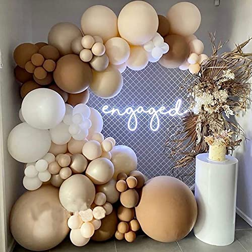 122pcs Coffee Balloon Arch Kit, Skin Color Latex Garland Balloons, Baby Shower Supplies Backdrop Wedding Party Decor decoration