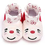Meeshine Newborn Baby Boys Girls Santa Claus Christmas Slippers Warm Fur Infant Toddler Boots Booties Shoes(Large(12-18 Months),White)
