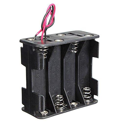 YEZIB Accesorios electrónicos de Bricolaje, Caja de la Ranura de la Ranura del Clip de la batería Caja de la Caja de la Pila de 6 Pulgadas Cable 12V 8 x AA